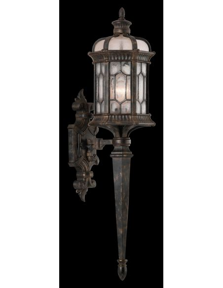Lighting Small wall sconce of antiqued bronze finish with subtle gold accents