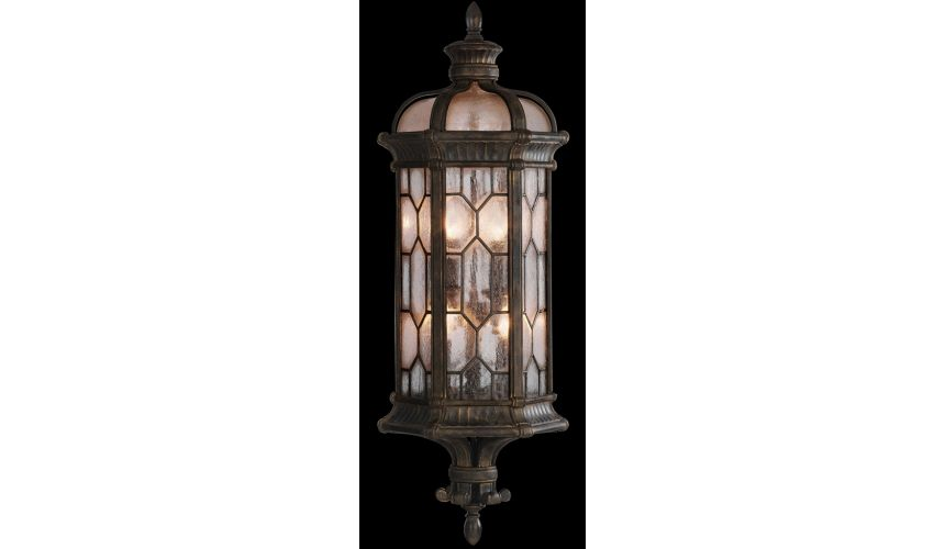 Lighting Large wall mount coupe in antiqued bronze finish with subtle gold accents