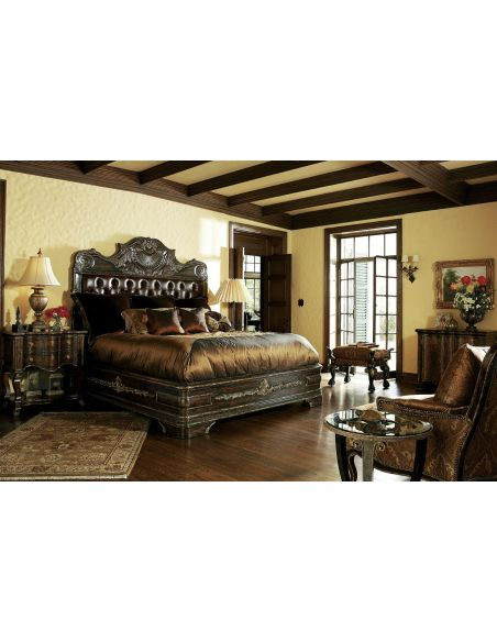 LUXURY BEDROOM FURNITURE 1 High end master bedroom set carvings and tufted leather headboard