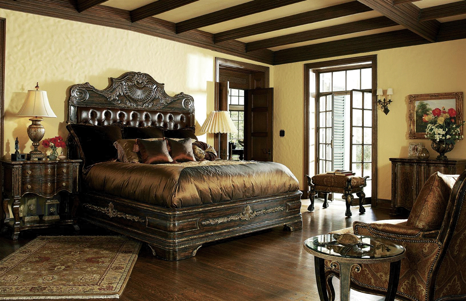 Queen and King Sized Beds 1 High end master bedroom set carvings and tufted  leather headboard. 1 High end master bedroom set carvings and tufted leather headboard
