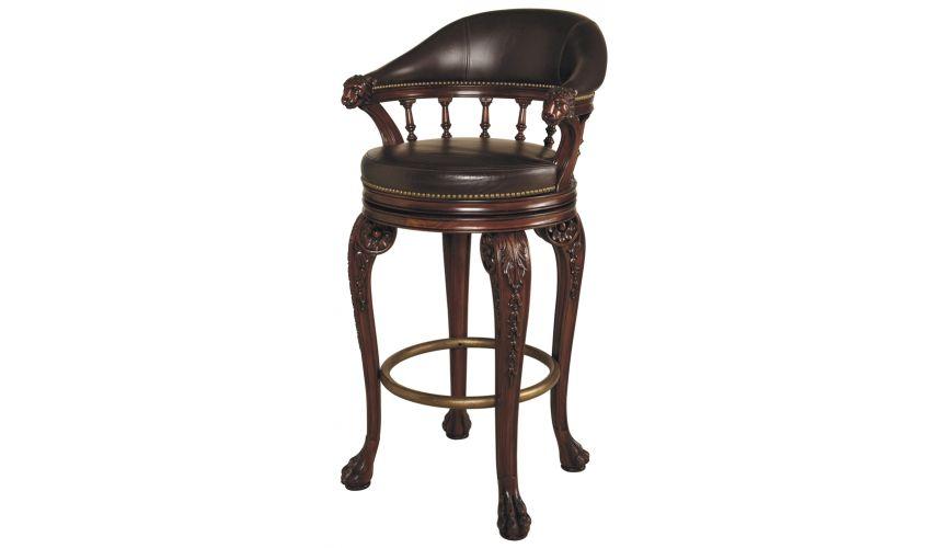 Home Bar Furniture Swivel Barstool, With Lion's Head