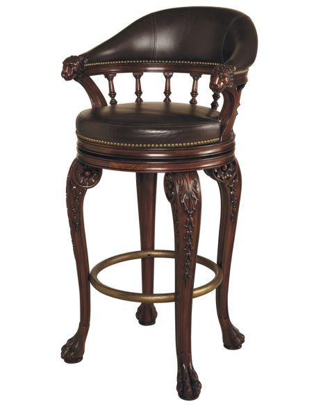 Home Bar Furniture Swivel Barstool, With Lion's Head