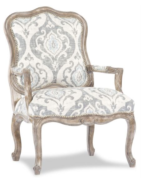 Luxury Leather & Upholstered Furniture White Jacquard Print Accent Chair