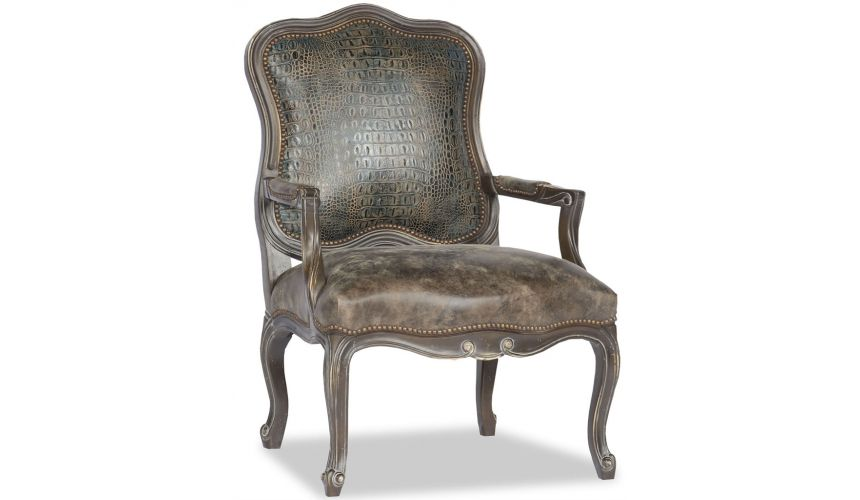 Luxury Leather & Upholstered Furniture Leather Curved Back Accent Chair
