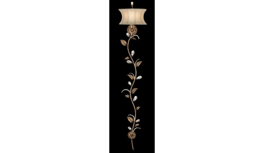 Lighting Wall sconce in cool moonlit patina. Classical foliage motif