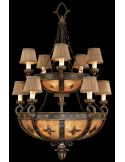 Chandelier in warm antiqued gold finish