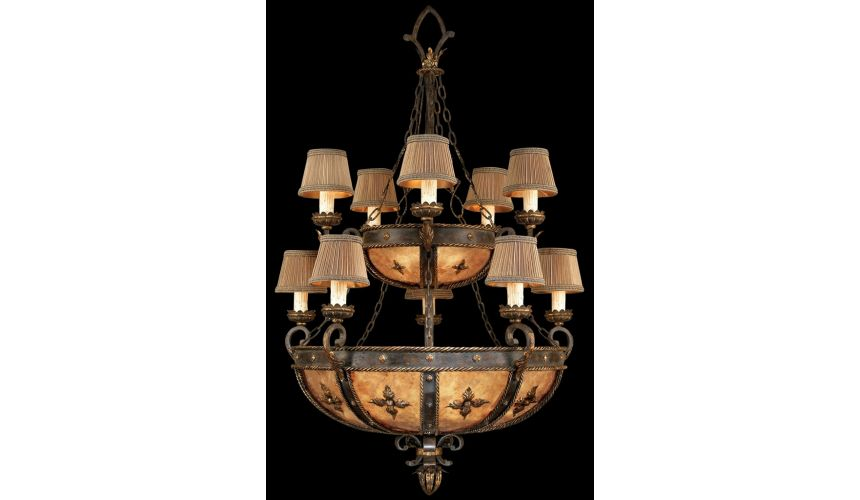 Lighting Chandelier in warm antiqued gold finish