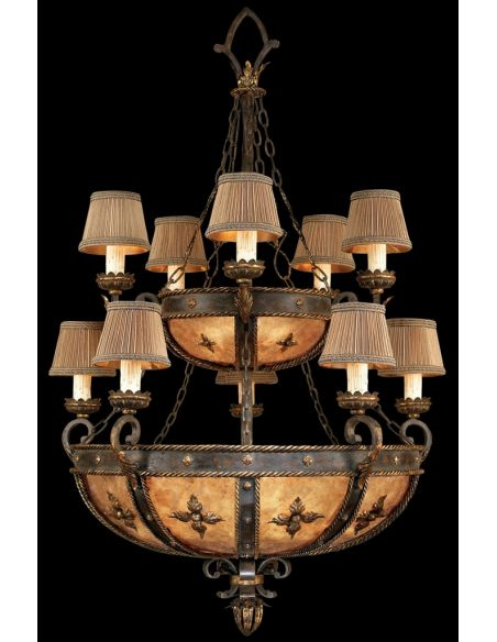 Lighting Chandelier in warm antiqued gold finish