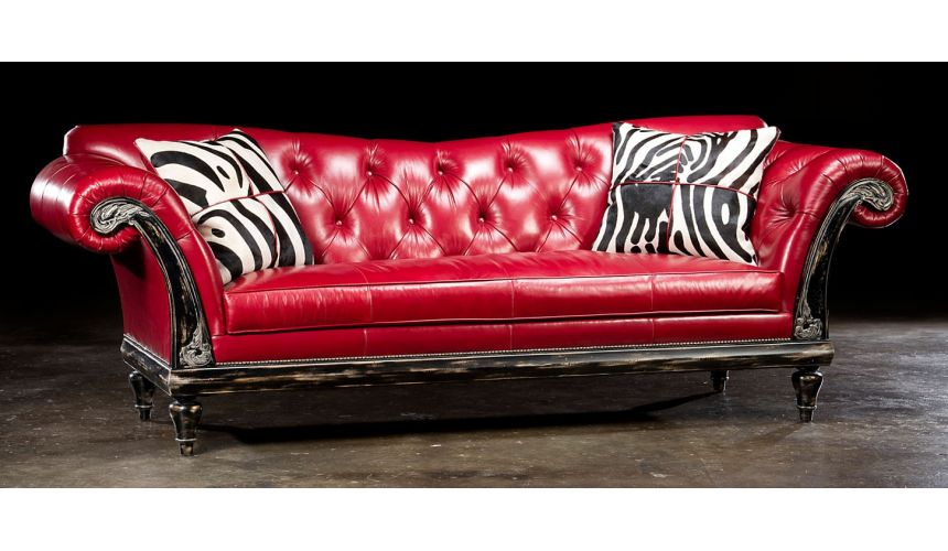 Red hot leather sofa, USA made, lost look from the past.