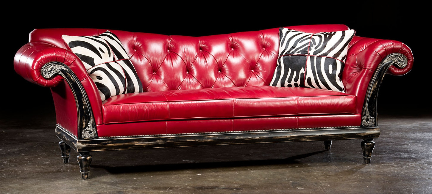 1 red hot leather sofa usa made lost look from the past. Black Bedroom Furniture Sets. Home Design Ideas