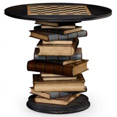 Stack of books library game table.