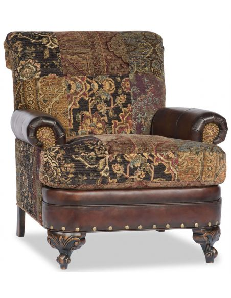 CHAIRS, Leather, Upholstered, Accent Tapestry Patchwork Arm Chair