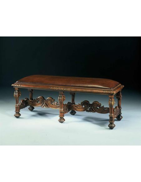 Luxury Leather & Upholstered Furniture Carved oak bench or window seat. Fine home furnishings.