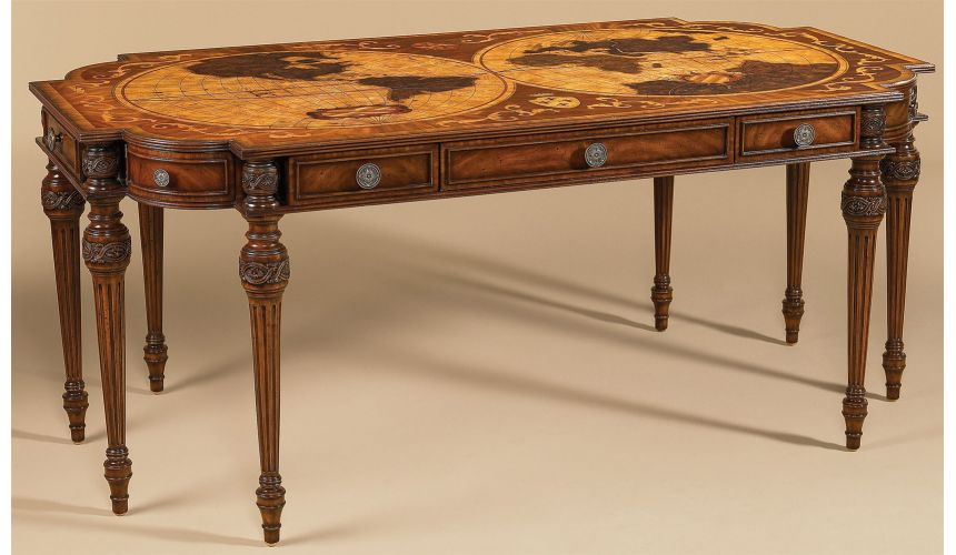 Executive Desks Aged Regency Finished Desk, Intricate Inlaid Marquetry Top in Various Veneers