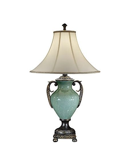 Lighting Ornate Aqua Porcelain Lamp