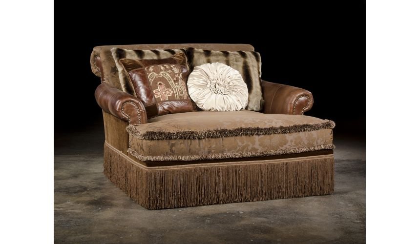 Luxury Leather & Upholstered Furniture Luxury Settee, High Quality Furnishings Double Chair
