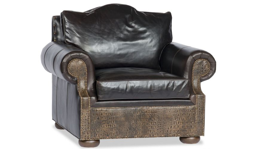 Luxury Leather & Upholstered Furniture Comfy Leather Chair Two Tone