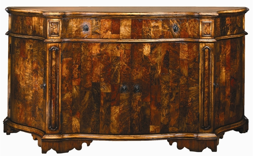 Breakfronts   China Cabinets European inspired breakfront of burl wood. European inspired breakfront of burl wood  5762