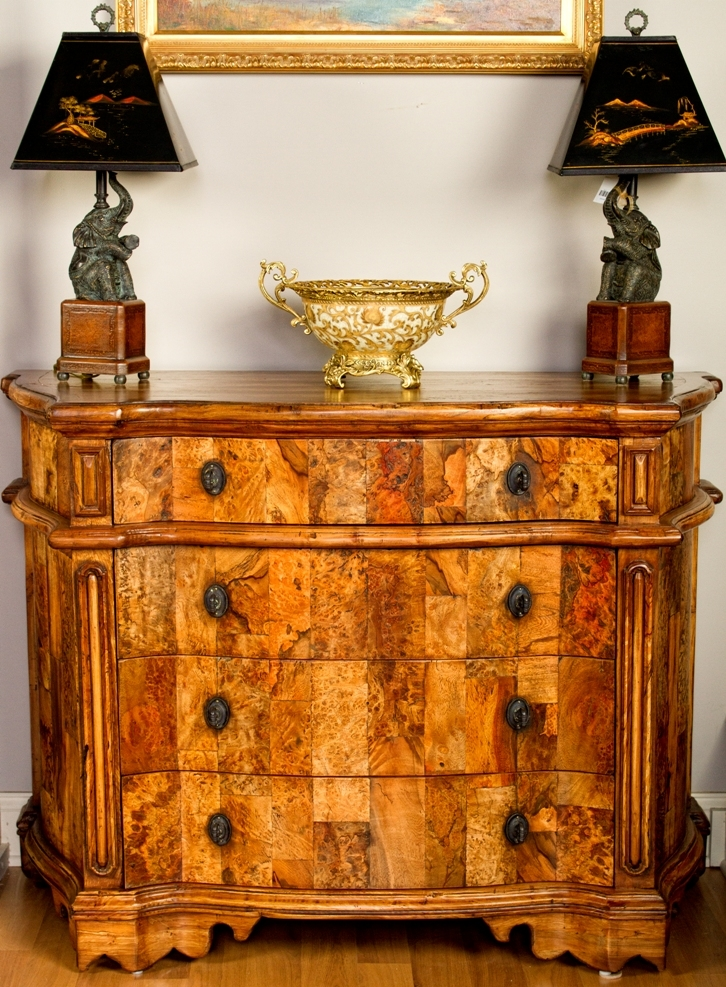 . European inspired breakfront of burl wood  5762