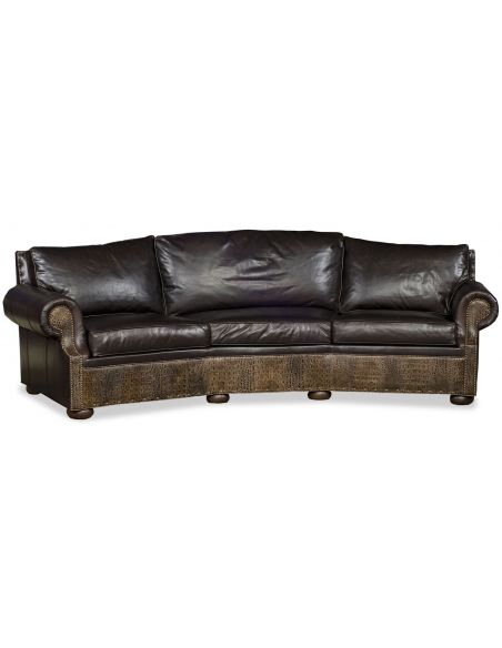 SOFA, COUCH & LOVESEAT Curved Leather Sofa
