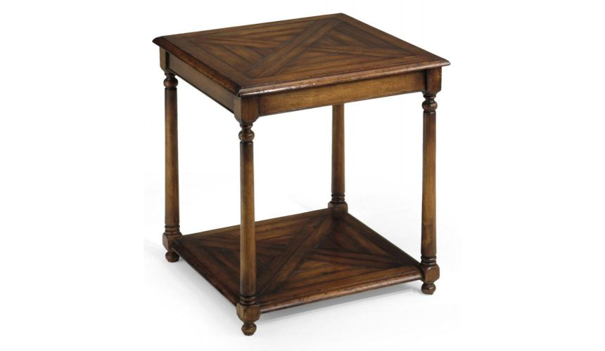 Square & Rectangular Side Tables End Table with Parquet Top Library & Office Furniture