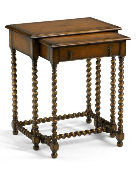 Square & Rectangular Side Tables Nest of Two Tables with Carved Legs Square & Rectangular Luxury Furniture