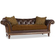 Brown Leather Mixed Media Sofa