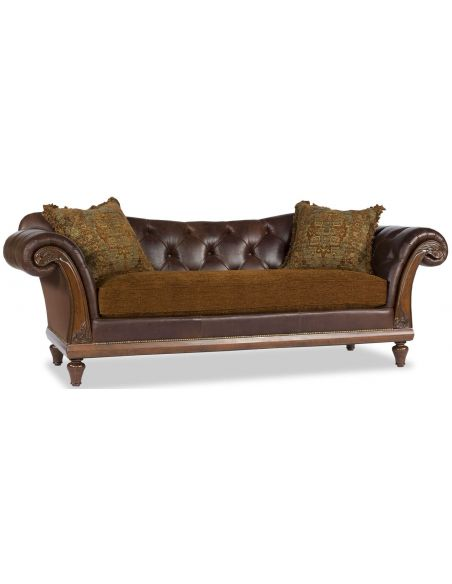 SOFA, COUCH & LOVESEAT Brown Leather Mixed Media Sofa