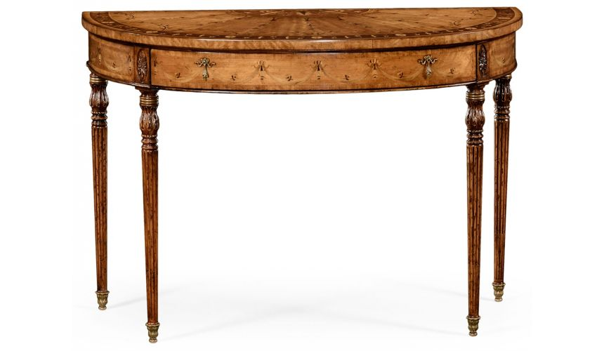 Console & Sofa Tables Walnut Demilune Console Table-47