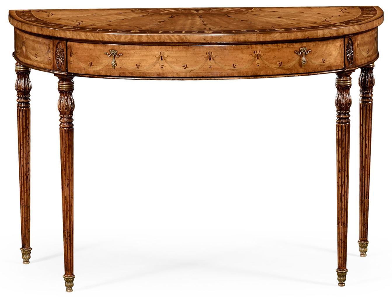 Walnut demilune console table 47 console sofa tables walnut demilune console table 47 geotapseo Gallery