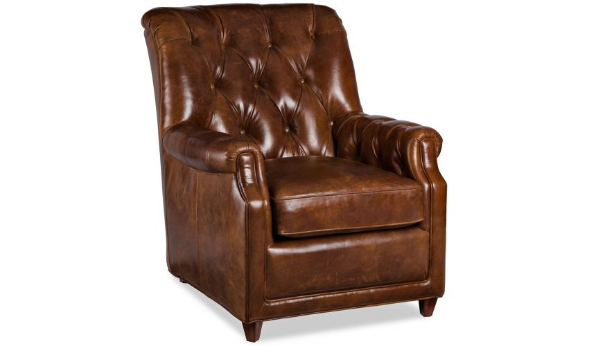 Luxury Leather & Upholstered Furniture Leather Tufted Parson Chair