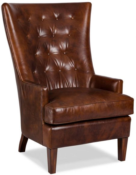 Luxury Leather & Upholstered Furniture Tufted Leather Woodcrest Chair