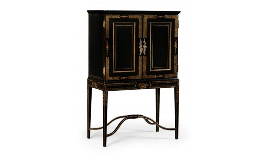 Bookcases High Style Black and Gold Drinks Cabinet