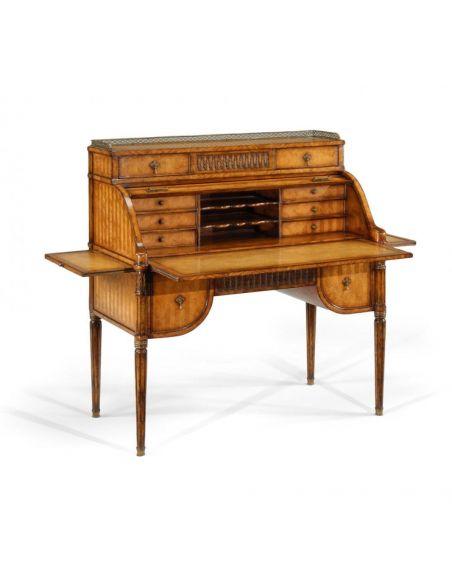 Executive Desks Library Office Furniture Satinwood Roll Top Desk