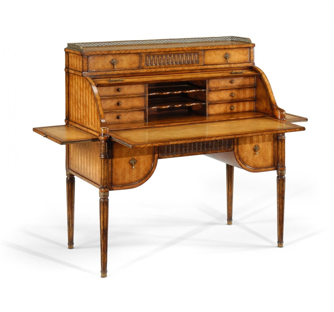 Library Office Furniture Satinwood Roll Top Desk
