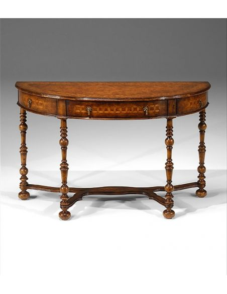 Console & Sofa Tables Half Round Console Table with hand cut inlaid circle veneer and hand turned legs