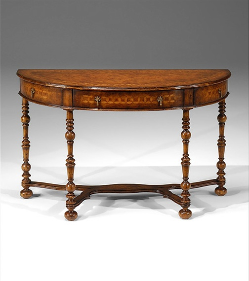 Half Round Console Table With Hand Cut Inlaid Circle