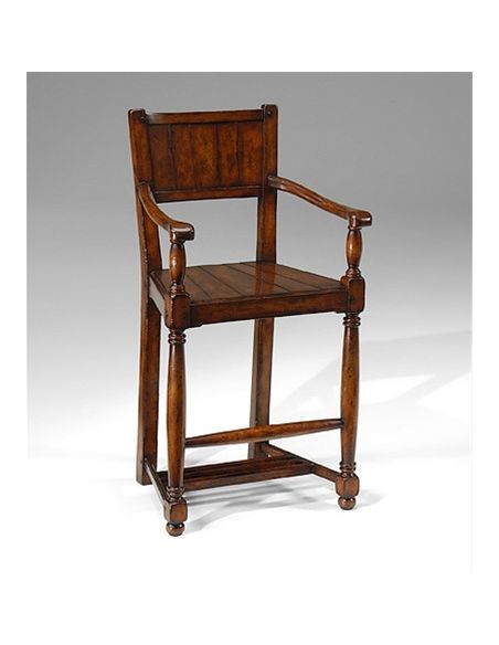 Home Bar Furniture Walnut Planked Arm Chair