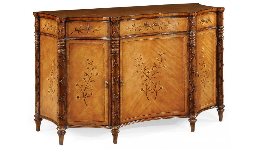 Breakfronts & China Cabinets Satinwood Veneered Side Cabinet-47