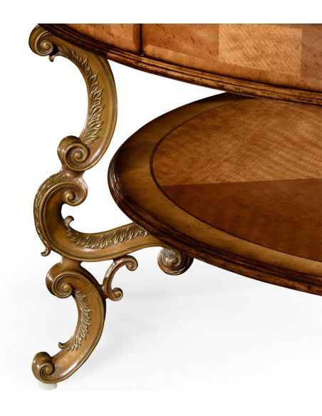 Round and Oval Coffee tables Rococo Style Satinwood Veneered Two-Tier Coffee Table-55