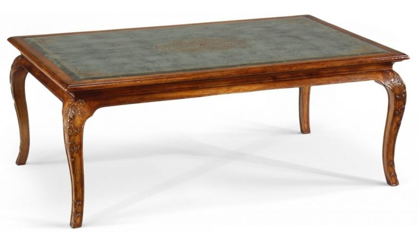 Coffee Tables High End Furniture Rectangular Coffee table with a carved and detailed Eglomise top