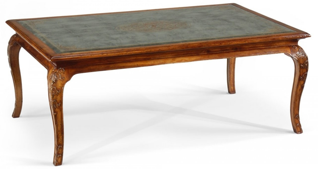 High End Furniture Rectangular Coffee Table With A Carved And Detai