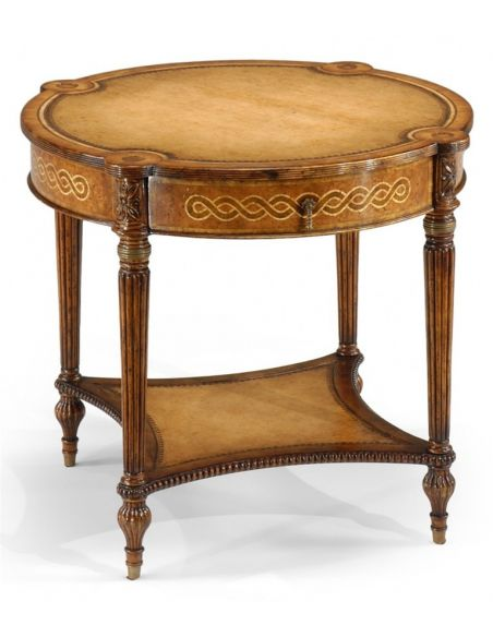 Round & Oval Side Tables High Quality Furniture Round Side Table with hand carved legs