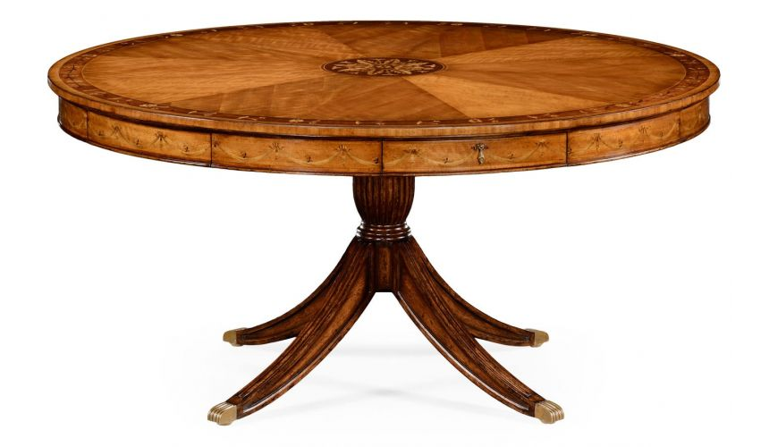 Classical Satinwood Round Dining Table-17