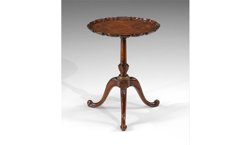 Round & Oval Side Tables High Quality Furniture Round Lamp Table with a Mahogany veneer pie crust top