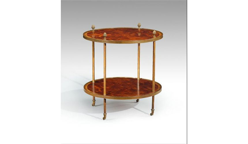 Round & Oval Side Tables High Quality Furniture Round Lamp Table with brass pine cone finials