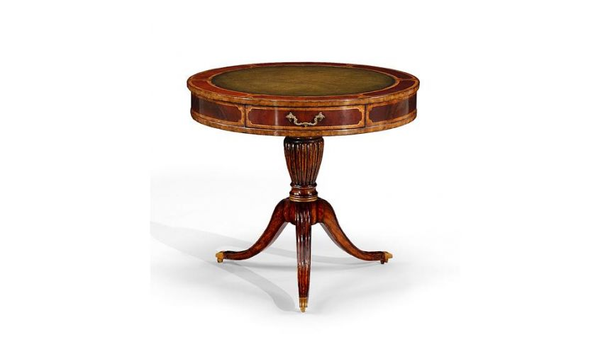 Foyer and Center Tables Foyer & Center Tables Mahogany Drum Table Green