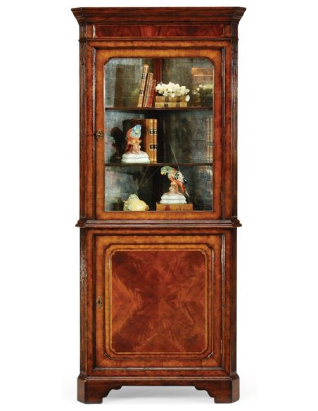 Tall Glazed Corner Cabinet with Cupboard-15