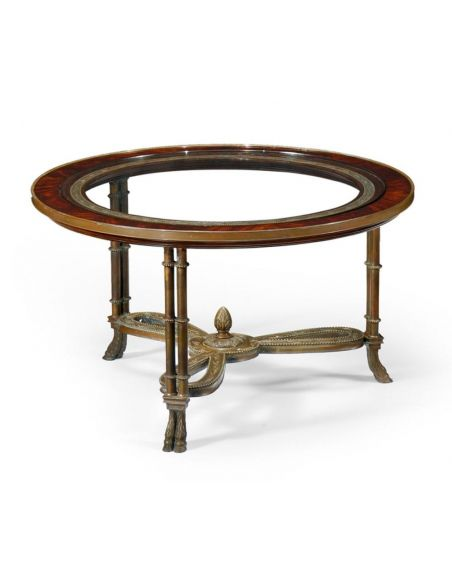 Coffee Tables High End Furniture Round Mahogany Coffee Table With Brass Base