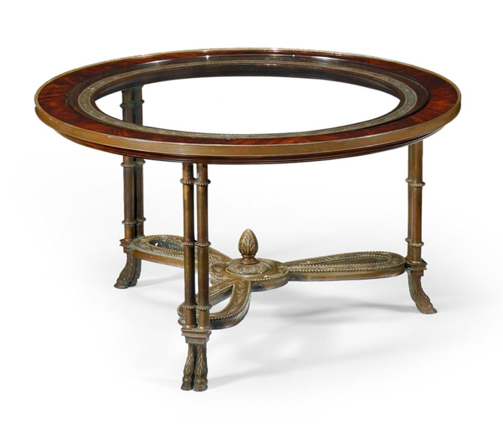 High end furniture round mahogany coffee table with brass base for High end coffee table